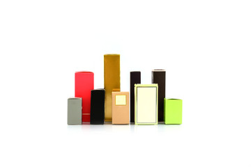 box of perfume isolated on white
