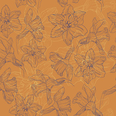 Pattern of painted daffodils