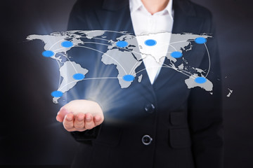 Businesswoman Showing Connected World Map