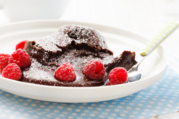 chocolate dessert with raspberries