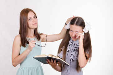 Teacher calms the student did not do their homework