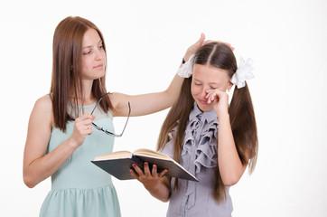 Teacher calms distressed student