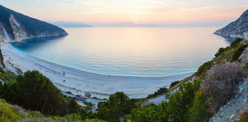 Sunset on Myrtos Beach (Greece,  Kefalonia, Ionian Sea).