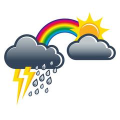 Sommergewitter, Wettersymbole, Vektor, Illustration