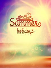 Summer holidays typography background.