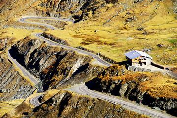 Winding road in Fagaras Mountains, Romania