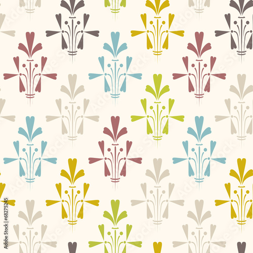 Tuinposter Abstract bloemen Damask seamless floral pattern. Vintage vector illustration.