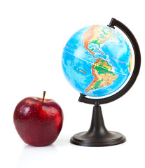 Red apple and globe
