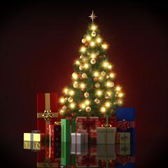 Tannenbaum Mit Geschenken - Beleuchtet