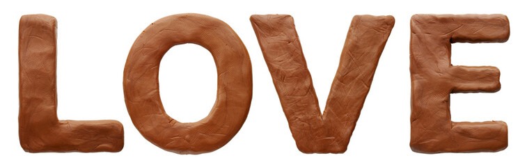 "Colour plasticine letter isolated on a white background ""LOVE"""