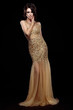 Aristocratic Lady in Golden Long Dress over Black Background