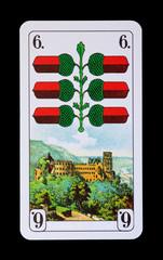 Spielkarten und Denkmäler - Eichl Sechs - Schloss Heidelberg