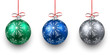 Set of realistic color christmas balls.