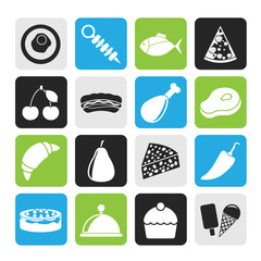 Silhouette Different kind of food icons