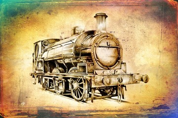 old steam locomotive engine retro vintage