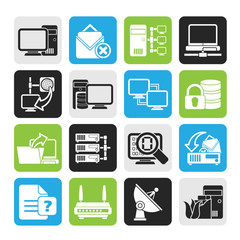 Silhouette Computer Network and internet icons