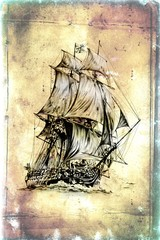 antique boat sea motive drawing handmade