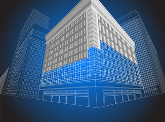 Residential wireframe building on a blue background