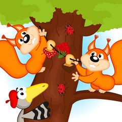 squirrel on tree - vector illustration, eps