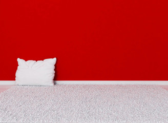 a white pillow on the  carpet