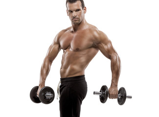 Muscle man holding weights