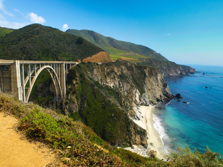 Bridge on Pacific rocky coast of California