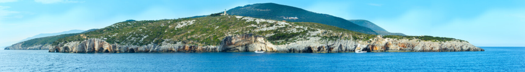 The Blue Caves in Zakynthos (Greece). Panorama.