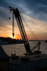 Stavanger Port Crane Silhouette
