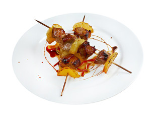 Shashlik (shish kebab) .pork and pineapple