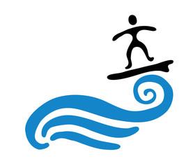 surfer on the wave, vector illustration