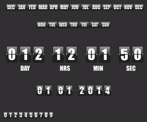 Countdown Timer and Date on black background