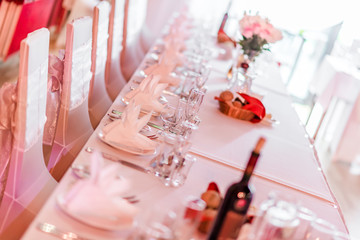 Wedding chairs and table setting at restaurant
