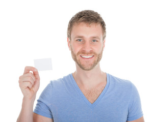Confident Man Holding Visiting Card