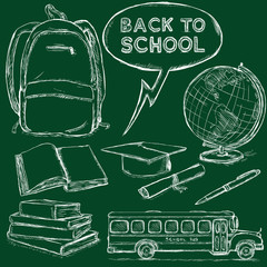 Vector Set of Chalk Sketch Education Objects. Back to School