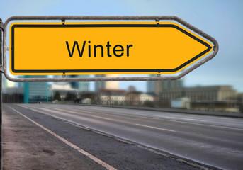 Strassenschild 14 - Winter