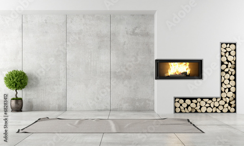 Modern interior with fireplace - 68283412