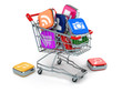 Apps icons in shopping cart. Store of  computer software.
