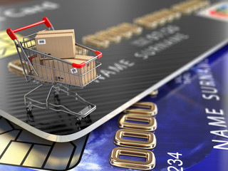 E-commerce. Shopping cart and credit cards.