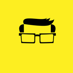 Man glasses hairdo flat icon