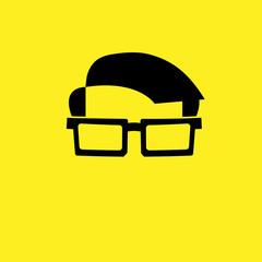 Man glasses hairdo flat icon
