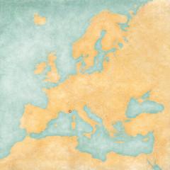 Map of Europe - Monaco (Vintage Series)