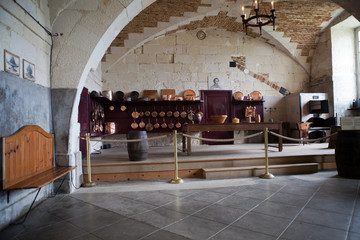 The kitchen in Valencay castle. Valley of Loire, France
