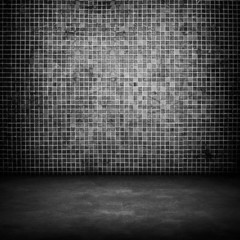 black concrete with mosaic background