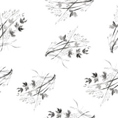 Floral seamless pattern. Floral background. Japanese paint.