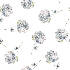 Floral seamless pattern. Watercolor flowers.