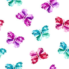 Butterflies. Seamless pattern. Watercolor background.