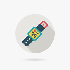 health Smart watch flat icon with long shadow
