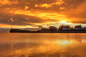 Orange sunset, Hofn, Iceland