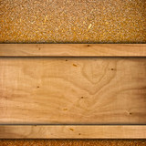 wood background with chipboard poster