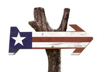 Liberia wooden sign isolated on white background